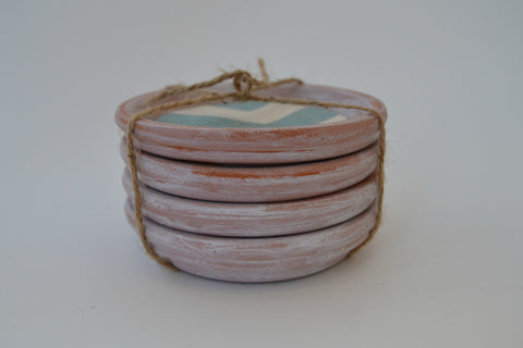 Aged Terracotta Coasters With Chevron Inset (Set of 4) - Cranberry Collective - Cape Cod Gifts - Beach and Nautical Decor