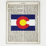 Colorado Flag Canvas Wall Decor - 8x10 Decorative CO State Map Silhouette Encyclopedia Art Print - COL Decorations