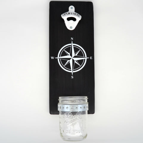 Compass Rose - Wall Mounted Bottle Opener with Cap Catcher