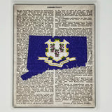 Connecticut Flag Canvas Wall Decor - 8x10 Decorative CT State Map Silhouette Encyclopedia Art Print - Conn Decorations