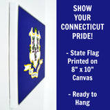 Connecticut Flag Decor - 8x10 CT State Flag Canvas - Ready To Hang Connecticut Decor