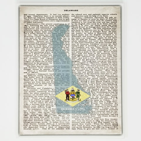 Delaware Flag Canvas Wall Decor - 8x10 Decorative DE State Map Silhouette Encyclopedia Art Print - DEL Decorations