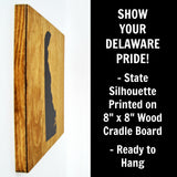 Delaware Wall Decor - 8x8 Decorative DE Map Wood Box Sign - Ready To Hang Delaware Decor