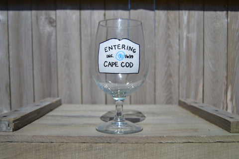 "Hand Painted Beer Goblet - ""Entering Cape Cod"" - Cranberry Collective - Cape Cod Gifts - Beach and Nautical Decor"