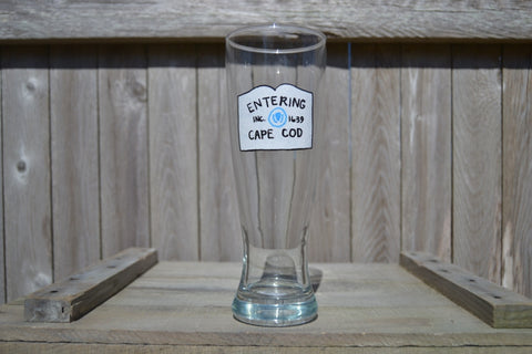 "Hand Painted Tall Beer Glass - ""Entering Cape Cod"" - Cranberry Collective - Cape Cod Gifts - Beach and Nautical Decor"