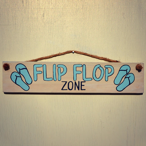 Flip Flop Zone Reclaimed Wood Hanging Sign with Rope Hanger - Cranberry Collective - Cape Cod Gifts - Beach and Nautical Decor
