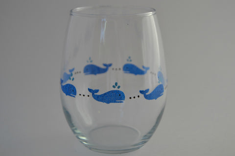 Glass Tumbler Hand Painted With Whales (Set of 2) - Cranberry Collective - Cape Cod Gifts - Beach and Nautical Decor