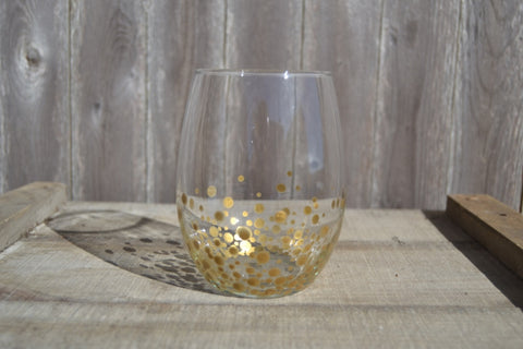 Stemless Wine Glasses Hand Painted With Gold Polka Dots (Set of 2) - Cranberry Collective - Cape Cod Gifts - Beach and Nautical Decor