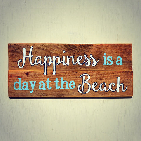 Happiness is a Day at the Beach Sign - Reclaimed Wood Wall Decor - Cranberry Collective - Cape Cod Gifts - Beach and Nautical Decor