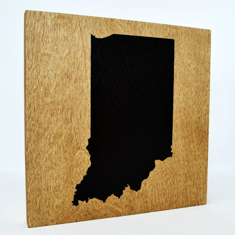 Indiana Wall Decor - 8x8 Decorative IN Map Wood Box Sign - Ready To Hang Indiana Decor