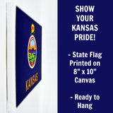 Kansas Flag Decor - 8x10 KS State Flag Canvas - Ready To Hang Kansas Decor