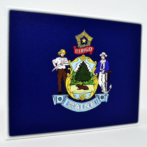Maine Flag Decor - 8x10 ME State Flag Canvas - Ready To Hang Maine Decor