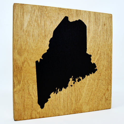 Maine Wall Decor - 8x8 Decorative ME Map Wood Box Sign - Ready To Hang Maine Decor