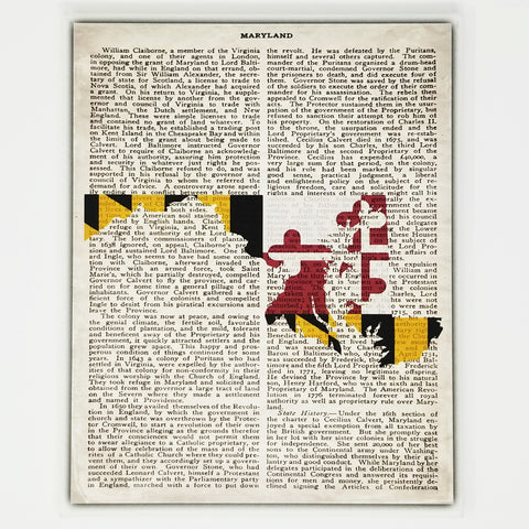 Maryland Flag Canvas Wall Decor - 8x10 Decorative Maryland State Map Silhouette Encyclopedia Art Print - MD Decorations