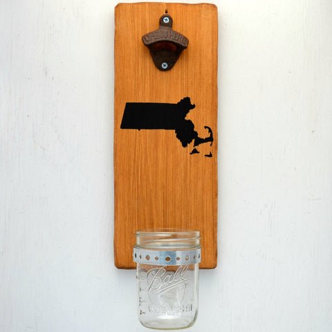 Massachusetts - Wall Mounted Bottle Opener with Cap Catcher - Cranberry Collective - Cape Cod Gifts - Beach and Nautical Decor
