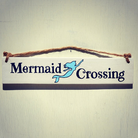 Mermaid Crossing Reclaimed Wood Hanging Sign with Rope Hanger - Cranberry Collective - Cape Cod Gifts - Beach and Nautical Decor