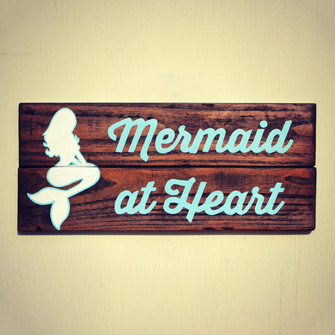 Mermaid at Heart Reclaimed Wood Wall Decor - Cranberry Collective - Cape Cod Gifts - Beach and Nautical Decor