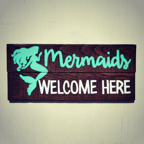 Mermaids Welcome Here Sign - Reclaimed Wood Wall Decor - Cranberry Collective - Cape Cod Gifts - Beach and Nautical Decor