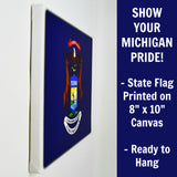 Michigan Flag Decor - 8x10 MI State Flag Canvas - Ready To Hang Michigan Decor