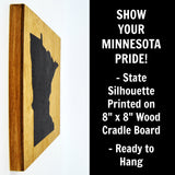 Minnesota Wall Decor - 8x8 Decorative MN Map Wood Box Sign - Ready To Hang Minnesota Decor
