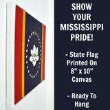 Mississippi Flag Decor - 8x10 MS State Flag Canvas - Ready To Hang Mississippi Decor