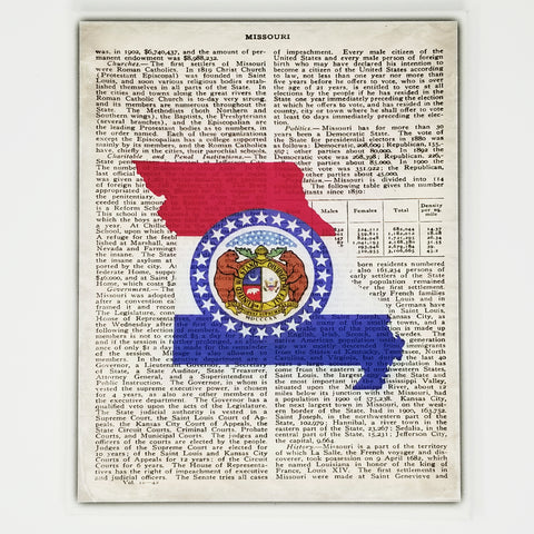 Missouri Flag Canvas Wall Decor - 8x10 Decorative MO State Map Silhouette Encyclopedia Art Print - Mizzou Decorations