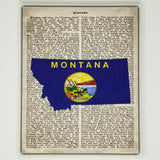 Montana Flag Canvas Wall Decor - 8x10 Decorative MT State Map Silhouette Encyclopedia Art Print - Big Sky Decorations