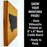 Montana Wall Decor - 8x8 Decorative MT Map Wood Box Sign - Ready To Hang Montana Decor
