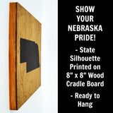 Nebraska Wall Decor - 8x8 Decorative NE Map Wood Box Sign - Ready To Hang Nebraska Decor