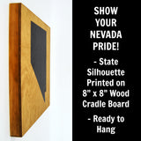 Nevada Wall Decor - 8x8 Decorative NV Map Wood Box Sign - Ready To Hang Nevada Decor