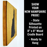 New Hampshire Wall Decor - 8x8 Decorative NH Map Wood Box Sign - Ready To Hang New Hampshire Decor