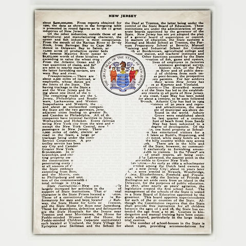 New Jersey Seal Canvas Wall Decor - 8x10 Decorative NJ State Map Silhouette Encyclopedia Art Print - Jersey Decorations
