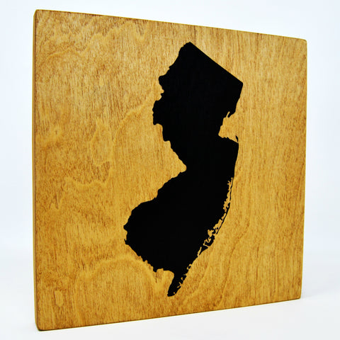 New Jersey Wall Decor - 8x8 Decorative NJ Map Wood Box Sign - Ready To Hang New Jersey Decor