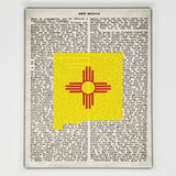 New Mexico Flag Canvas Wall Decor - 8x10 Decorative New Mexico State Map Silhouette Encyclopedia Art Print - NM Decorations