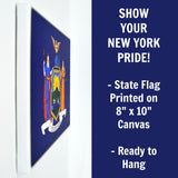 New York Flag Decor - 8x10 NY State Flag Canvas - Ready To Hang New York Decor