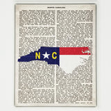North Carolina Flag Canvas Wall Decor - 8x10 Decorative NC State Map Silhouette Encyclopedia Art Print - Carolina Decorations