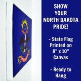 North Dakota Flag Decor - 8x10 ND State Flag Canvas - Ready To Hang North Dakota Decor