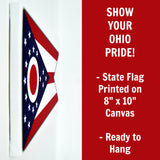 Ohio Flag Decor - 8x10 OH State Flag Canvas - Ready To Hang Ohio Decor