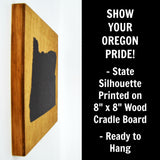 Oregon Wall Decor - 8x8 Decorative OR Map Wood Box Sign - Ready To Hang Oregon Decor