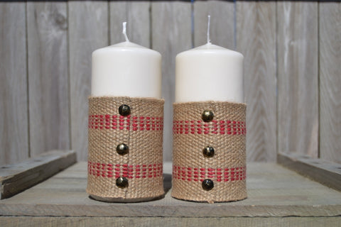 Tall Pillar Candles With Burlap, Red Accents and Black Buttons (Set of 2) - Cranberry Collective - Cape Cod Gifts - Beach and Nautical Decor