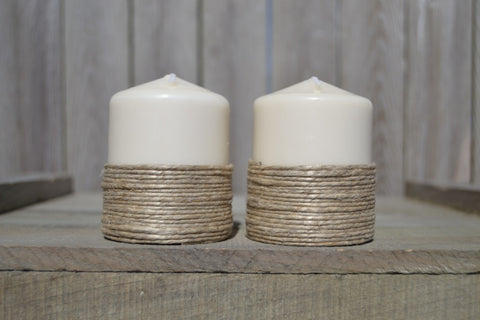 Short Pillar Candles With Rope (Set of 2) - Cranberry Collective - Cape Cod Gifts - Beach and Nautical Decor