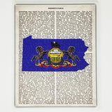 Pennsylvania Flag Canvas Wall Decor - 8x10 Decorative PA State Map Silhouette Encyclopedia Art Print - PENN Decorations