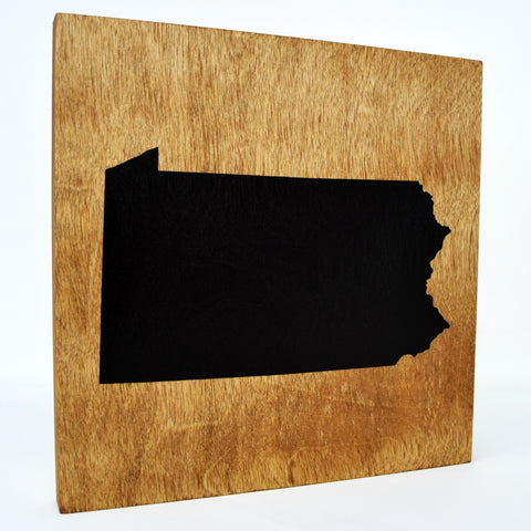 Pennsylvania Wall Decor - 8x8 Decorative PA Map Wood Box Sign - Ready To Hang Pennsylvania Decor