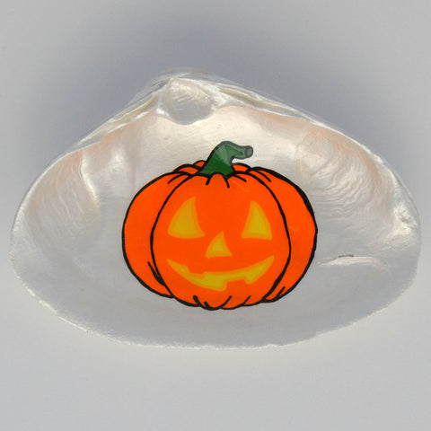 Jack-O-Lantern Halloween Clam Shell Dish | Jewelry Dish - Spoon Rest - Soap Dish - Cranberry Collective - Cape Cod Gifts - Beach and Nautical Decor