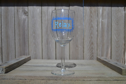 "Hand Painted Red Wine Glass - ""Relax"" (Set of 2) - Cranberry Collective - Cape Cod Gifts - Beach and Nautical Decor"