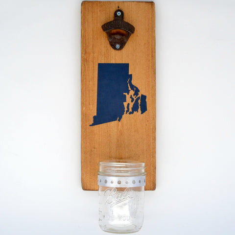 Rhode Island - Wall Mounted Bottle Opener with Cap Catcher - Cranberry Collective - Cape Cod Gifts - Beach and Nautical Decor