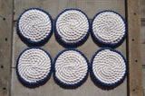 Natural Cotton Rope Drink Coasters With Navy Edge (Set of 6) - Cranberry Collective - Cape Cod Gifts - Beach and Nautical Decor