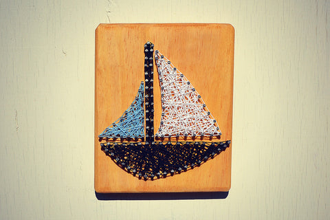 Sailboat String and Nail Art - Wall Decor - Cranberry Collective - Cape Cod Gifts - Beach and Nautical Decor