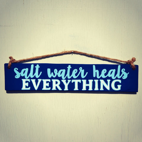 Salt Water Heals Everything Reclaimed Wood Hanging Sign with Rope Hanger - Cranberry Collective - Cape Cod Gifts - Beach and Nautical Decor
