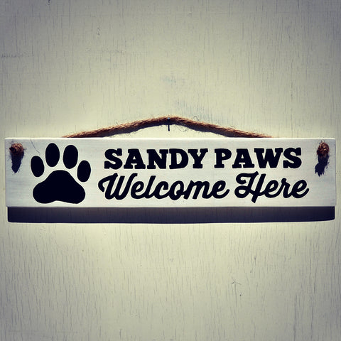 Sandy Paws Welcome Here Reclaimed Wood Hanging Sign with Rope Hanger - Cranberry Collective - Cape Cod Gifts - Beach and Nautical Decor